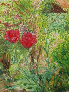 Artwork >> Mazouz Patrice >> poppies in the garden (h / canvas) #artwork, #poppies, #flowers  #oil, #painting, #masterpiece, #nature