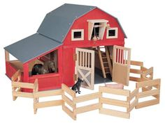 Homemade toy Barn for Horses | Red Gable Wooden Barn w/Corral and Stall