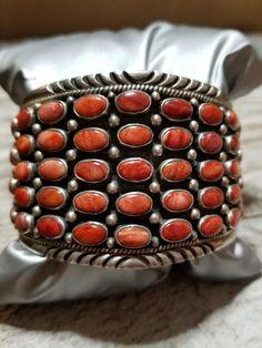 Wide DAN DODSON Southwestern Sterling Silver and Coral Cluster Cuff Bracelet  #DanDodson