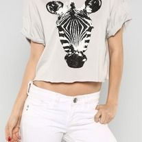 New Spring crop top with a zebra face printed on the front.