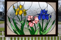 Stained Glass Window Art Iris Panel by GailsGlassGarden on Etsy Stained Glass Flowers, Stained Glass Designs, Stained Glass Panels, Stained Glass Projects, Stained Glass Patterns, Leaded Glass, Stained Glass Art, Mosaic Glass, Glass Tiles