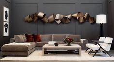 HOLLY HUNT | modern metal wall sculpture in contemporary living room | residential interior design ideas | modern wall art