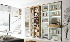 integriertes Weinregal, Schieberegal mit CD/DVD-Einteilung, 1 Regal mit Glastür, praktische Buchablage mit Schubfach