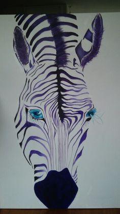 Paarse zebra met acryl