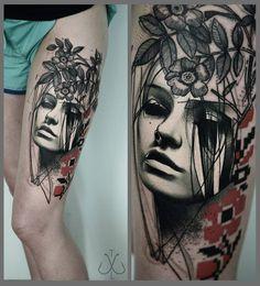 Portrait & Flowers http://tattooideas247.com/thigh-portrait/