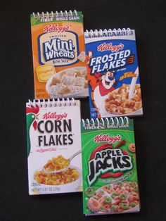 Cereal box notebooks we could make these for them to sell at the inspiration only super idea for making your own notebooks with a cover from your favorite cereal boxlink does not go directly to product on etsy ccuart Images