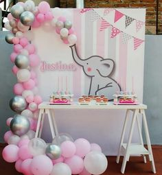 Baby shower ideas for boys elephant theme birthday parties 46 super ideas - Babyparty-ideen - Dumbo Baby Shower, Idee Baby Shower, Baby Girl Shower Themes, Girl Baby Shower Decorations, Elephant Baby Showers, Baby Shower Gender Reveal, Baby Shower Centerpieces, Elephant Party, Babyshower Themes For Girls