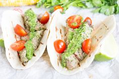 These Cilantro Pesto Steak Tacos are surprisingly quick and easy for a fun summer meal that packs a punch of flavor! Healthy Cookie Recipes, Fun Easy Recipes, Delicious Dinner Recipes, Healthy Dishes, Mexican Food Recipes, Beef Recipes, Real Food Recipes, Mexican Dinners, Delicious Food