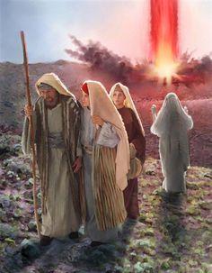 Lot y sus hijas escapan de la destrucción de Sodoma. La esposa de Lot mira hacia atrás y se convierte en un pilar de sal.