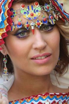 La belle kabylie.Traditional Algerian headdress from the region kabylie