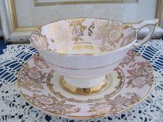 Tea Cup Saucer, Tea Cups, Royal Stafford, Gold Gilding, Gold Filigree, China Patterns, Wedgwood, Pansies, Bone China