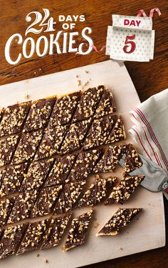 Chocolate, toffee and sea salt are a match made in heaven, and a sugar-cookie crust makes this combo extra decadent. If you're looking for a big-batch holiday bar recipe, this is a great recipe—only 20 minutes of prep time and it makes 32 servings! Cut into smaller pieces to stretch the recipe even further.