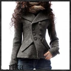 This stylish peacoat is a great feminin update from the usual.  I love that it fits the contours of the body and the A-semetrical placement of the buttons gives it an edgy feel.  LOVE the chunky scarf too, what a great way to finish off the look