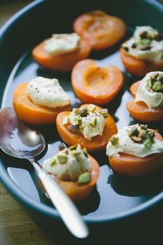 Poached Apricots with Lavender and Mascarpone #recipe #dessert #glutenfree