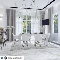 #repost from @grey_plotnikov Elegant dining area featuring our unique and unrepeatable Match, a lighting concept based on co- creation. Create your own Match with our software at vibia.com #led #ledlights #pendantlight #lightingdesign #lighting #interiordesign