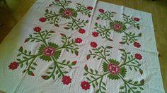 Antique Vintage Quilt Applique Floral Hand Stitch PA Estate All Hand Stitch
