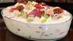 ENSALADA NAVIDEÑA DE FRUTAS - YouTube Holiday Recipes, Great Recipes, Apple Desserts, Christmas Desserts, Deli, Fruit Salad, Pecan, Mexican Food Recipes, Pudding
