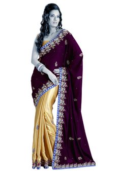 Wine and beige velvet and satin half half saree designed with stone, cutbeads and patch border work. As shown beige satin blouse fabric is available.