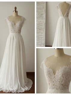 V-back Illusion Lace Wedding Dress,Discount Chiffon Summer Wedding Dress,Lace Bridal Dress by DestinyDress, $227.39 USD