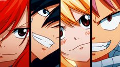 Erza, Gray, Lucy and Natsu Fairy Tail Drawing, Fairy Tail Lucy, Fairy Tail Nalu, Fairy Tail Ships, Do Fairies Exist, Natsu And Gray, Fairy Tail Pictures, Love Fairy, Anime Fairy