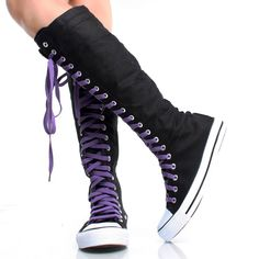 Black-Purple-Canvas Lace Up Comfortable Women Sneakers Knee High Boots