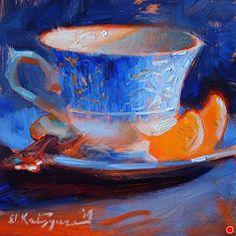 Blue and Orange by Elena Katsyura Oil