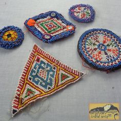 Vintage Tribal Talisman:  Kuchi Beaded Remnant Amulet/Patch Set #23 Beaded Ornaments, Flower Dresses, Coin Purse, Patches, Blanket, Trending Outfits, Crochet, Unique Jewelry, Handmade Gifts