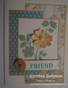 A Stampin' Up! Pin Card, Beautiful Handmade Cards, Friendship Cards, Cards For Friends, Pretty Cards, Creative Cards, Flower Cards, Homemade Cards, Stampin Up Cards
