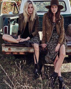JESSICA STAM & AMANDA WELLSH WEAR GLAM COUNTRY STYLE IN W   Read more: http://www.fashiongonerogue.com/country-style-cowgirl-looks-w/#ixzz3uEwbrTLZ