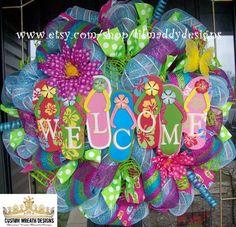 Welcome Summer Flip Flop Wreath. $115.00, via Etsy.