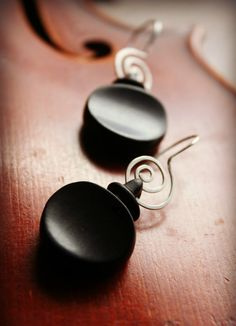 Violin Tuning Peg  Black Wood Earrings - Hand Spiraled Sterling Silver Earwire