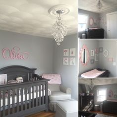 Grey white and pink nursery