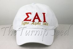 Sigma Alpha Iota Sorority Baseball Cap  Custom by TheTurnipSeed, $12.00  You choose the color hat and Text!