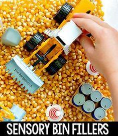 Corn Sensory Bin in Preschool