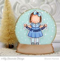 Christmas Banner stamp set and Die-namics, Snowfall Background, Snow Globe Die-namics - Sharon Harnist #mftstamps