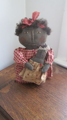 Primitive Black Doll with Child by Bettesbabies on Etsy
