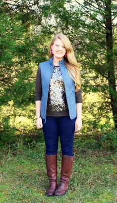 Sequin Sweater and Puffer Vest Outfit