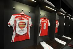 Arsenal captain Per Mertesacker's shirt and match pennant in the changing room before the FA Cup Semi Final between Reading and Arsenal at Wembley Stadium on April Arsene Wenger, Wembley Stadium, Changing Room, European Football, Football Pictures, Arsenal Fc, Semi Final, Fa Cup, North London