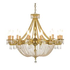 This striking chandelier features a central structure in bronze with a French gold finish, from which 14 arms stem, supporting 14 lights. Pendant crystal decorations adorn the piece throughout, from the top round element to the lights and from them to the bottom tip of the structure, creating magnificent effect, thanks to their warm amber glow. This superb piece is particularly ideal to enrich a sumptuous setting. Its electric components will be built to be up to code with the destination…