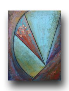 Geometric Abstract Painting 18 x 24, Turquoise, Red. $210.00, via Etsy.