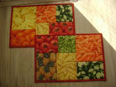 Fruit and Vegetable Mug Rugs / Placemats