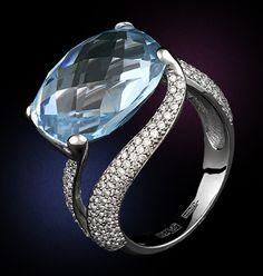 Кольца Estet (Эстет) из белого золота с топазом и с бриллиантами