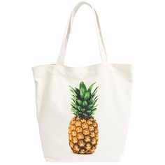 Junior BP. Canvas Tote (185 HKD) ❤ liked on Polyvore featuring bags, handbags, tote bags, yellow pineapple, beach tote bags, yellow purse, white handbags, yellow tote and handbags totes