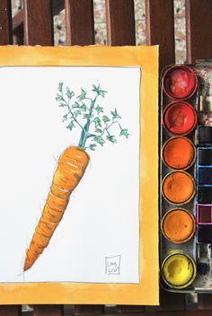 #carota #illustrazione #acquerello #poster #cucina #arredamento #casa #arancione