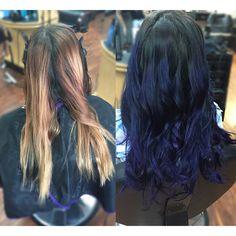 Blue/Violet ombre  Color correction Mermaid hair Redken color