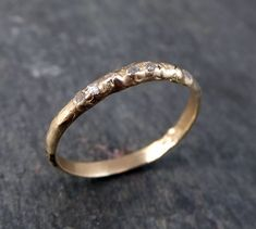 Raw Rough Uncut Diamond Wedding Band 14 k Gold Wedding Ring by Angeline