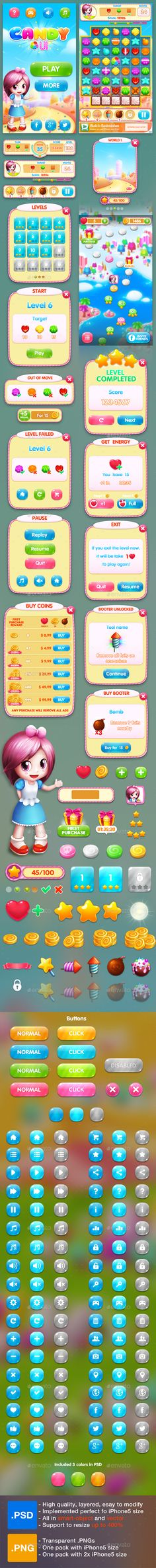 Sweety Game UI Template PSD, Transparent PNG #gui #appui