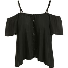 Button Up Cold Shoulder Top Black (31 BGN) ❤ liked on Polyvore featuring tops, button down top, cold shoulder tops, cut-out shoulder tops, open shoulder top and cut shoulder tops