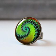 Green Picture Ring Colorful Statement Ring by StudioDbronze