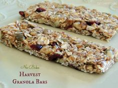 No Bake Harvest Granola Bars 2 3/4 cups old fashioned oats 1/4 cup ground flax seed 1/4 cup dried cranberries 1/4 cup dried apples, chopped 1/2 cup roasted, salted pumpkin seeds 1/3 cup walnuts, chopped 1/2 tsp. vanilla 3/4 tsp. cinnamon 3 Tbsp. unsalted butter 4 Tbsp. pure maple syrup 1/3 cup brown sugar